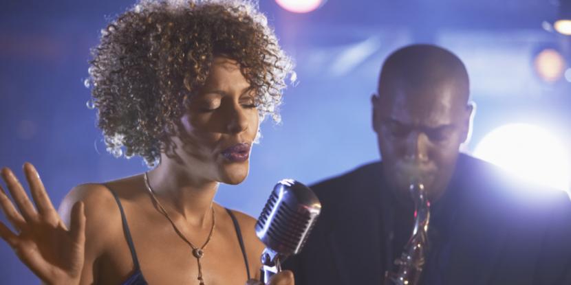 Jazz singer scatting